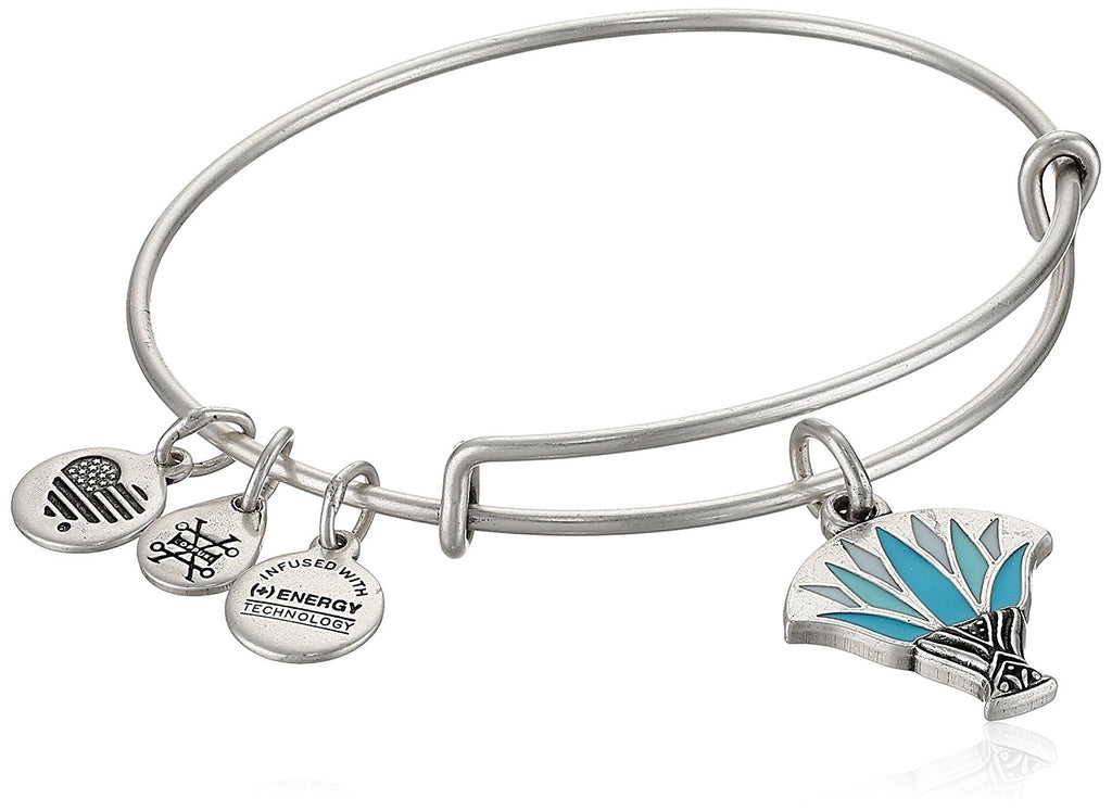 BLUE LOTUS BANGLE BRACELET SILVER - EXPANDABLE picktookshop.myshopify.com [gogle] [sale] [online]