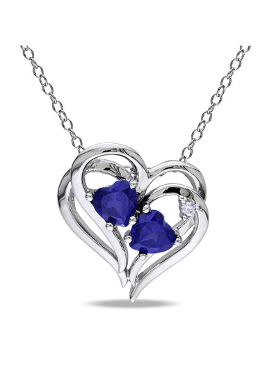 Blue Sapphire and Diamond-Accent Sterling Silver Heart Women's Necklace Pendant, 18 picktookshop.myshopify.com [gogle] [sale] [online]