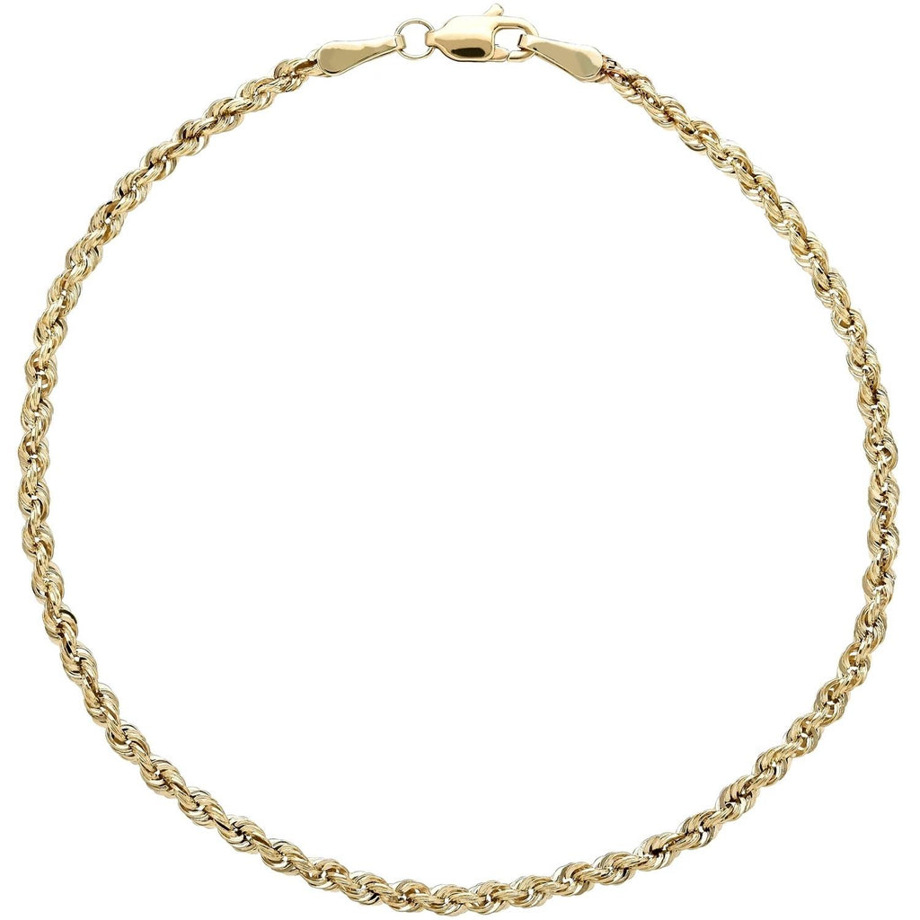 BRILLIANCE FINE JEWELRY 10KT YELLOW GOLD 2.5MM GLITTER ROPE BRACELET picktookshop.myshopify.com [gogle] [sale] [online]