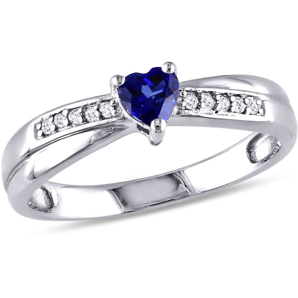 1/4 CARAT T.G.W. CREATED BLUE SAPPHIRE AND DIAMOND-ACCENT STERLING SILVER HEART RING