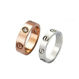 Love Screw Screwdriver Ring Logo with 3 diamonds (Rose Gold/Silver/Bronze)
