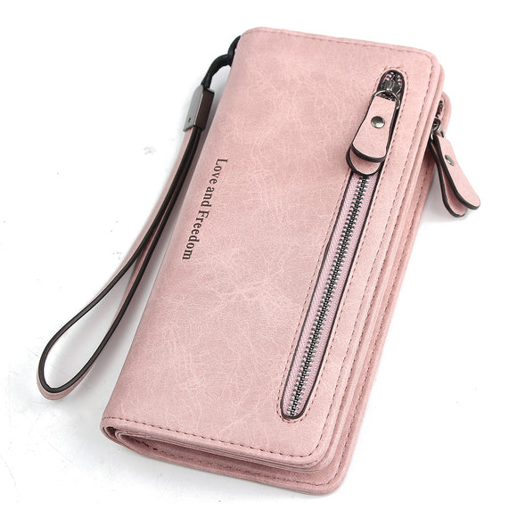 WOMEN PU LEATHER ZIPPER LONG PURSE CARD HOLDER WALLET PHONE BAG