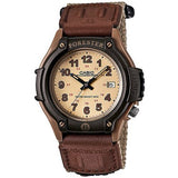 CASIO MEN'S FORESTER ANALOG WATCH, TAN NYLON FAST-WRAP STRAP