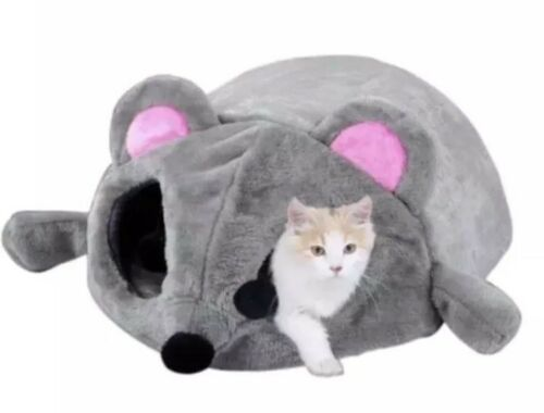 Cat Cave Bed Gray Mouse Shape Hide Tunnel ,Soft Cushion Small Dog House