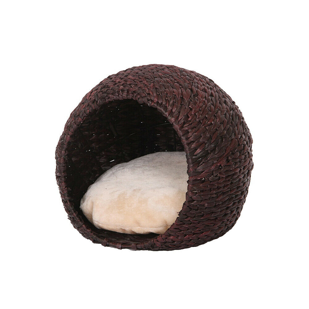 Woven Water Hyacinth Cat House With Lounge Space And Pillow