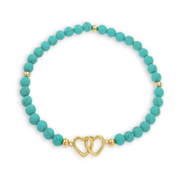 TURQUOISE STRAND BEAD STRETCH BRACELET FOR WOMEN 14K GOLD PLATED STERLING SILVER picktookshop.myshopify.com [gogle] [sale] [online]