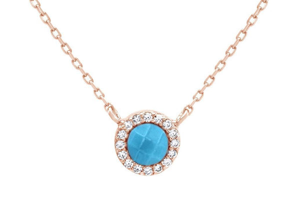 Blue Turquoise Precious Stone Faceted Cut Pendant Necklace 14k Rose Gold Over Sterling Silver