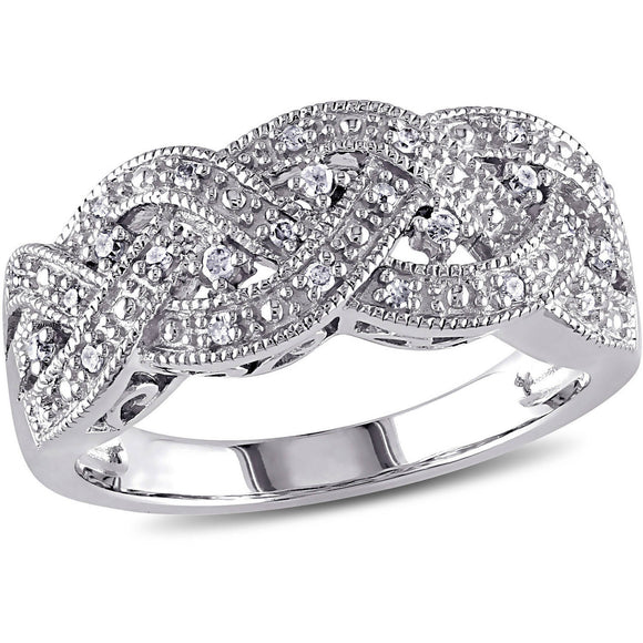 DIAMOND (1/8 CARAT T.W. ) STERLING SILVER BRAIDED RING picktookshop.myshopify.com [gogle] [sale] [online]