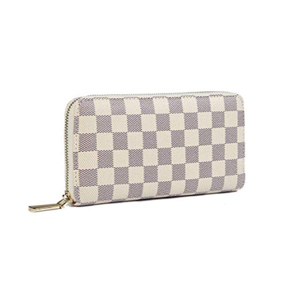 Women's Checkered Zip Around Wallet and Phone Clutch - RFID picktookshop.myshopify.com [sale] [online]