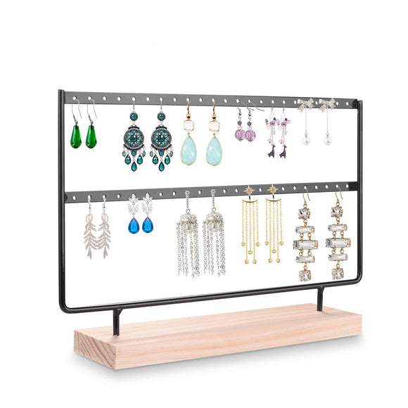 Earrings Organizer Jewelry Display Wood Stand (44 Holes 2 Layers) (Black) picktookshop.myshopify.com [gogle] [sale] [online]