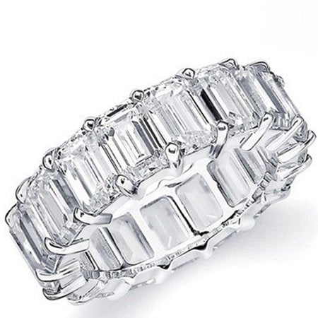 Emerald Cut Cubic Zirconia 18k White Gold Eternity Ring
