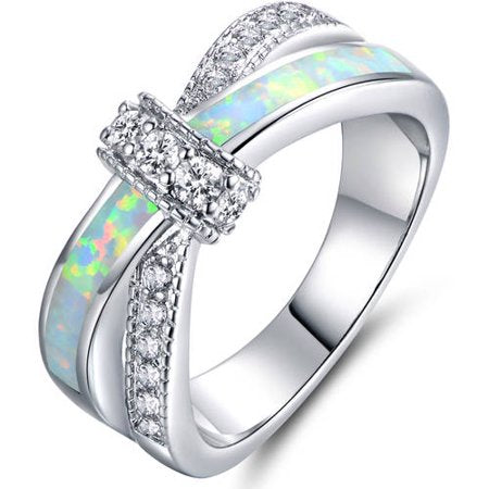 FIRE OPAL CZ18KT WHITE GOLD-PLATED CRISSCROSS RING picktookshop.myshopify.com [gogle] [sale] [online]