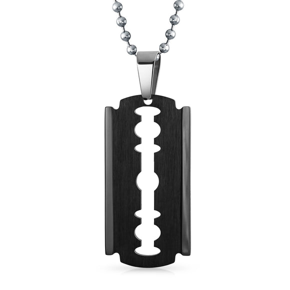 Large Razor Blade Black Beveled Edge Dog Tag Pendant Necklace For Men