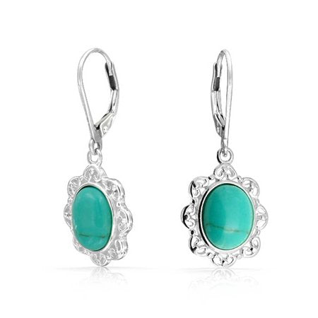 BORDER LEVERBACK OVAL DROP EARRINGS FOR WOMEN 925 STERLING SILVER