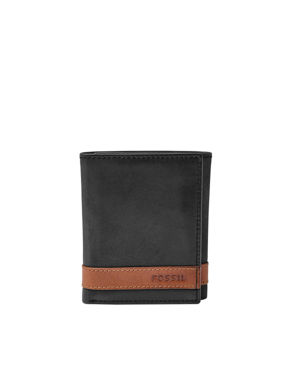 MEN'S QUINN TRIFOLD LEATHER WALLET - BLACK