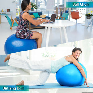 Massage Foam Roller Kit & 65cm Fitness Exercise Yoga Ball for Muscle Therapy
