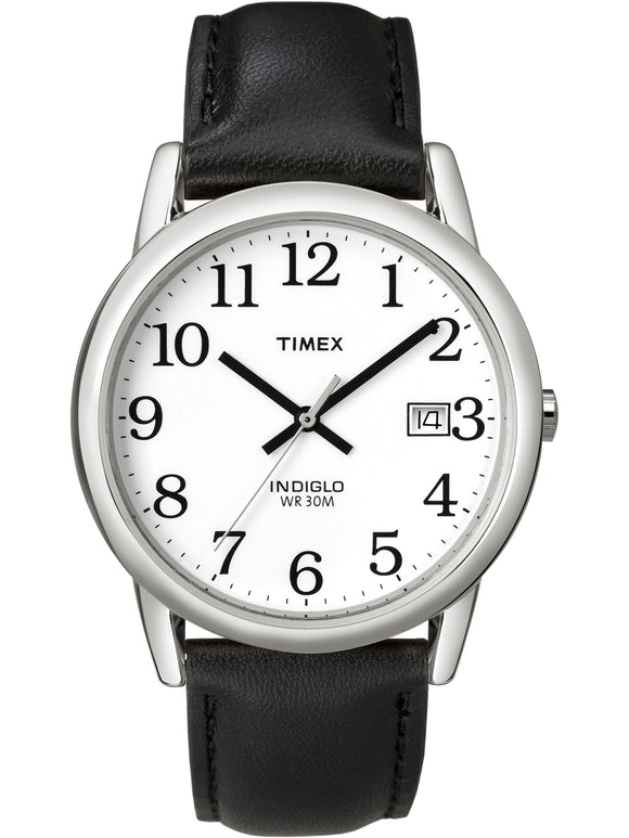 Men's Easy Reader Date 35mm Black/Silver Leather Strap Watch picktookshop.myshopify.com [sale] [online]