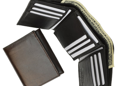 MEN'S FLAP UP ID TRIFOLD GENUINE LEATHER WALLET picktookshop.myshopify.com [gogle] [sale] [online]