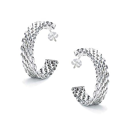 MESH TWISTED ROPE CABLE BRAIDED HALF HOOP STUD EARRINGS FOR WOMEN FOR MEN