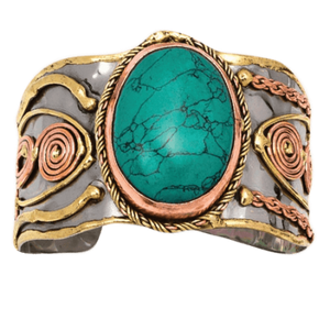 MIXED METAL TURQUOISE CUFF BRACELET |STEEL