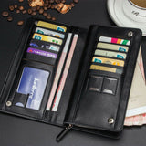 Men's Bifold Leather Zip Long Wallet ID Credit Card Holder Purse Clutch Handbag