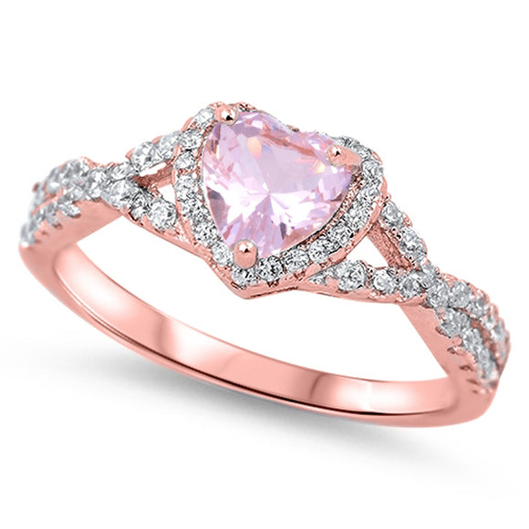 PINK CZ ROSE GOLD-TONE HEART RING .925 STERLING SILVER VINTAGE BAND