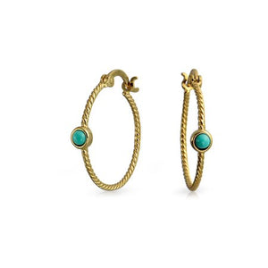 TWISTED CABLE ROPE THIN HOOP EARRINGS STABILIZED TURQUOISE ACCENT FOR WOMEN picktookshop.myshopify.com [gogle] [sale] [online]