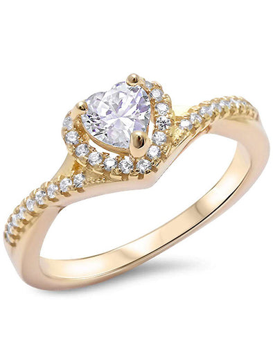 STERLING SILVER CUBIC ZIRCONIA HEART TWISTED BAND PROMISE RING YELLOW GOLD PLATED picktookshop.myshopify.com [gogle] [sale] [online]