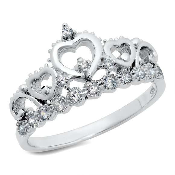 STERLING SILVER CUBIC ZIRCONIA PRINCESS HEART CROWN TIARA CZ BAND RING