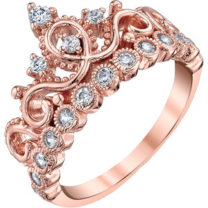 STERLING SILVER PRINCESS CROWN RING (ROSE GOLD PLATED)