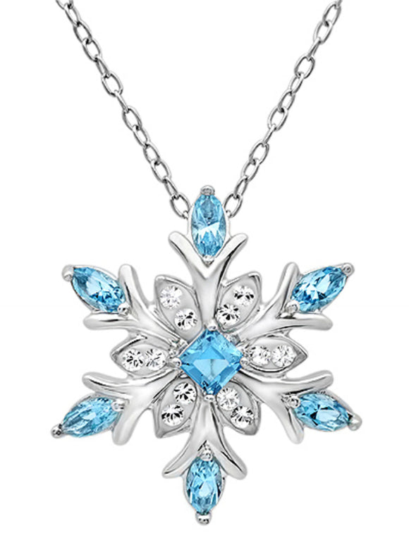 Sterling Silver Blue and White Snowflake Pendant Necklace with Swarovski Crystals picktookshop.myshopify.com [gogle] [sale] [online]