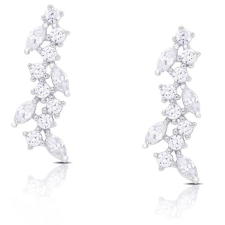 STERLING SILVER CUBIC ZIRCONIA DROP CLUSTER EARRINGS