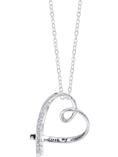 "Sterling Silver ""First My Daughter, Forever My Friend"" CZ Heart Necklace picktookshop.myshopify.com [gogle] [sale] [online]"