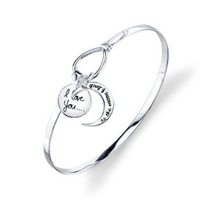 "STERLING SILVER ""I LOVE YOU TO THE MOON AND BACK"" BANGLE BRACELET"