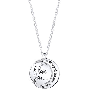 "Sterling Silver ""I Love You To The Moon and Back"" Pendant Necklace, 18"" picktookshop.myshopify.com [gogle] [sale] [online]"