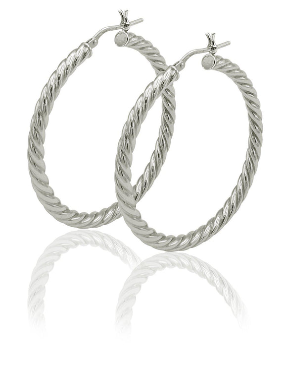 STERLING SILVER RIBBED ROUND HOOP EARRINGS, 35MM