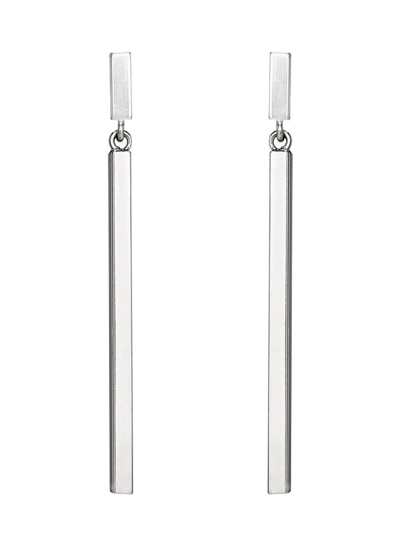 STERLING SILVER SQUARE BAR DANGLE EARRINGS