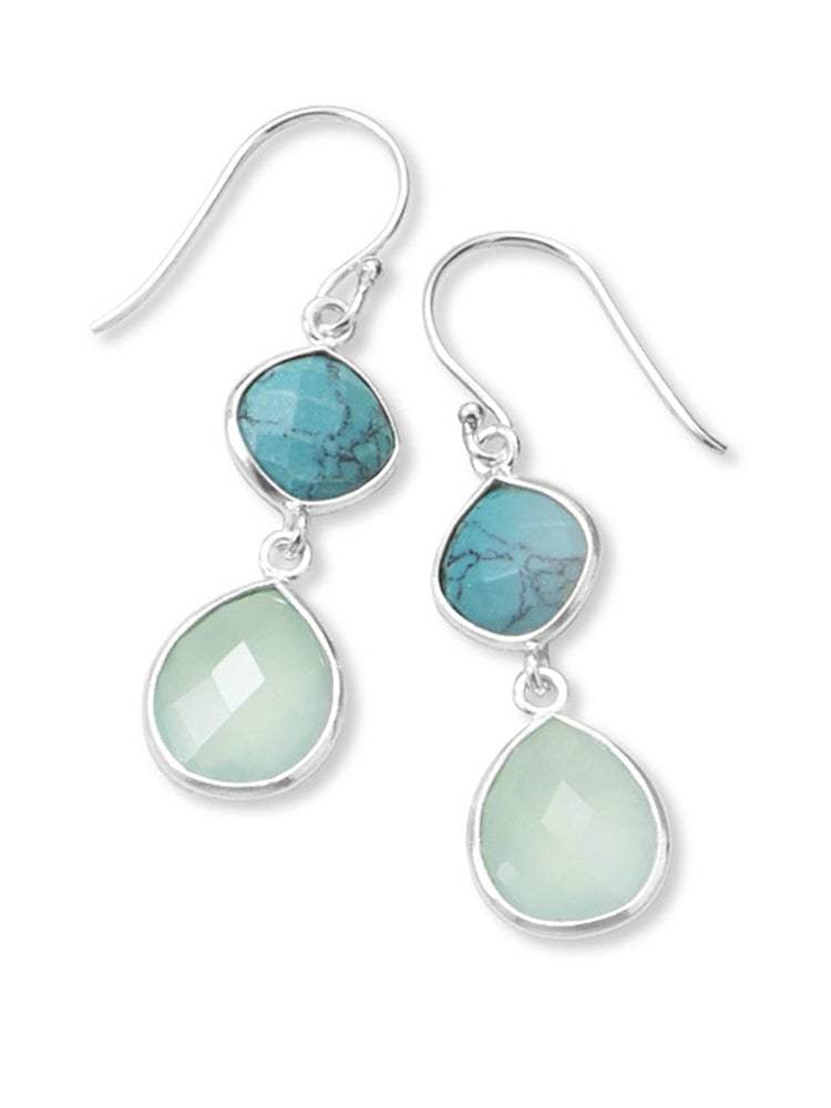 STERLING SILVER STABILIZED TURQUOISE AND CHALCEDONY DROP EARRINGS picktookshop.myshopify.com [gogle] [sale] [online]