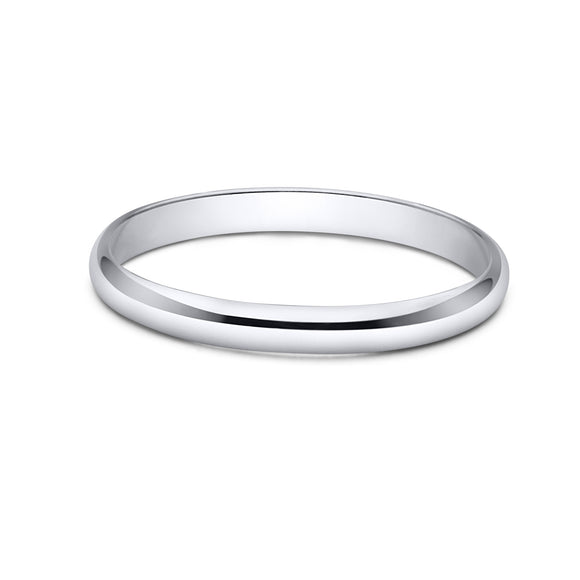 Sterling Silver Wedding Band 2mm Men or Women Bridal Ring