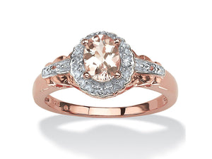 .82 TCW Oval-Cut Genuine Pink Morganite Ring in Rose Gold-Plated Silver