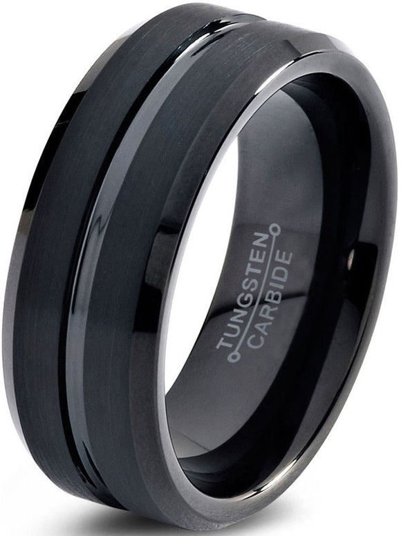 TUNGSTEN WEDDING BAND RING 8MM FOR MEN WOMEN COMFORT FIT BLACK BEVELED EDGE