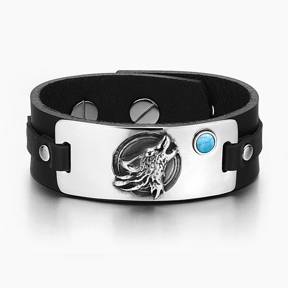 WOLF WILD MOON TAG SIMULATED TURQUOISE ADJUSTABLE BLACK LEATHER BRACELET picktookshop.myshopify.com [gogle] [sale] [online]