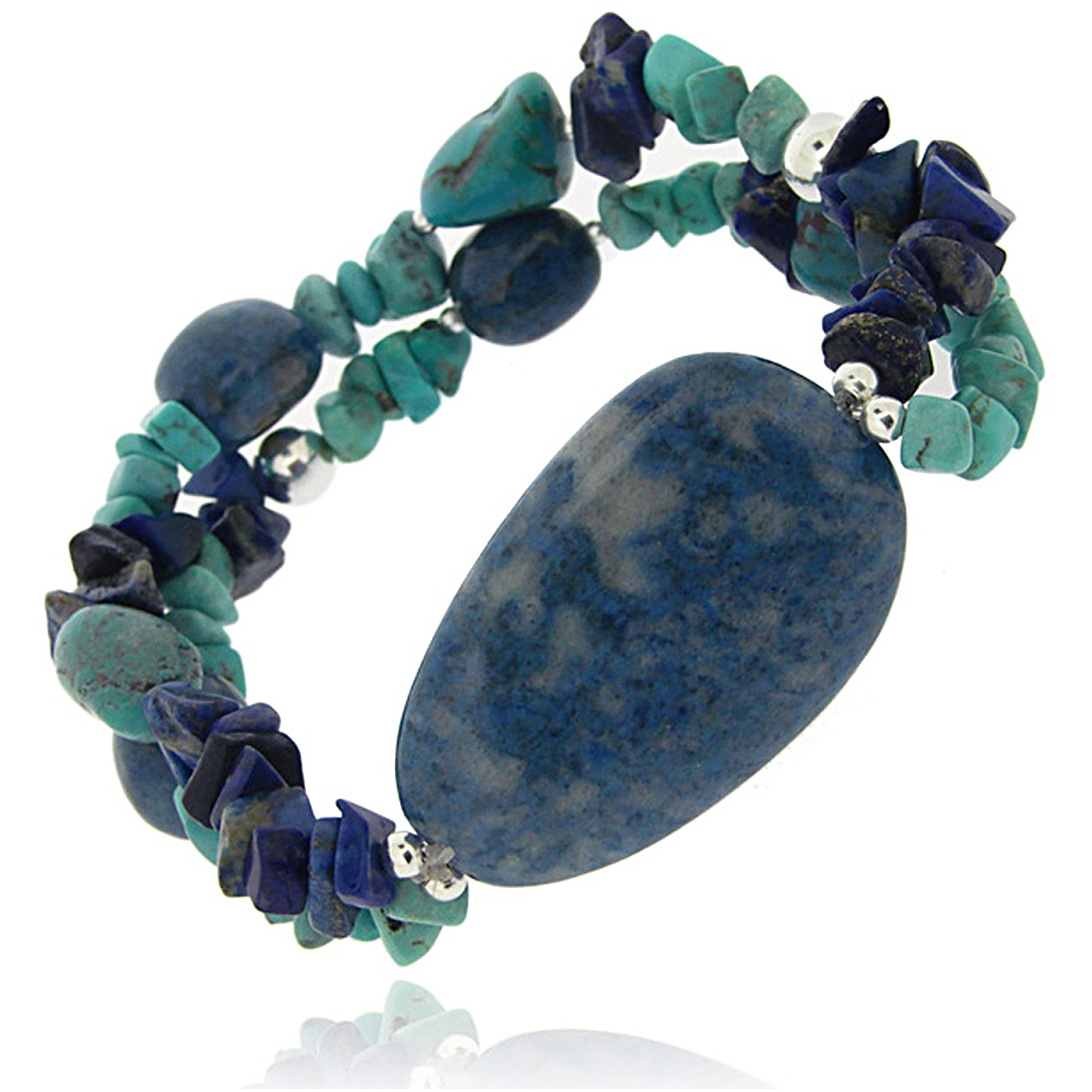 TURQUOISE CHIPS AND NUGGETS STERLING SILVER STRETCH BRACELET picktookshop.myshopify.com [gogle] [sale] [online]