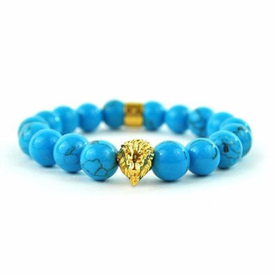 TURQUOISE GEMSTONE LION BEADED BRACELET STYLE MENS LADIES picktookshop.myshopify.com [gogle] [sale] [online]