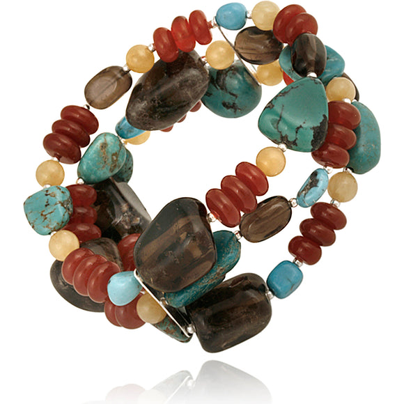 TURQUOISE AND SMOKY QUARTZ NUGGETS STERLING SILVER STRETCH BRACELET, 7.5