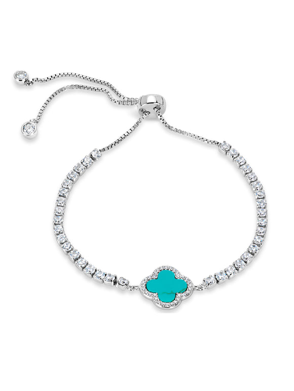 TURQUOISE AND WHITE CUBIC ZIRCONIA STERLING SILVER BRACELET picktookshop.myshopify.com [gogle] [sale] [online]