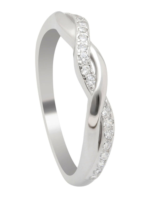 Twisted 925 Sterling Silver CZ Simulated Diamond Bridal Wedding Ring Women