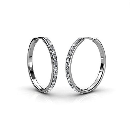 18k White Gold Hoop Earrings with Swarovski Crystals, Crystal Drop Dangle Earrings, picktookshop.myshopify.com [sale] [online]