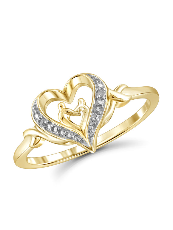 White Diamond Accent 14k Gold Over Silver Mother and Child Heart Ring