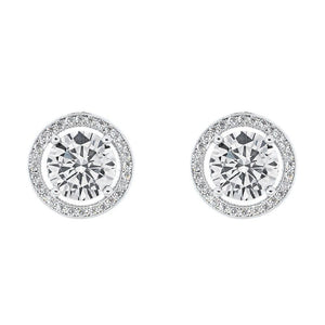 WHITE GOLD HALO CZ STUD EARRINGS, SILVER SIMULATED DIAMOND EARRINGS picktookshop.myshopify.com [gogle] [sale] [online]